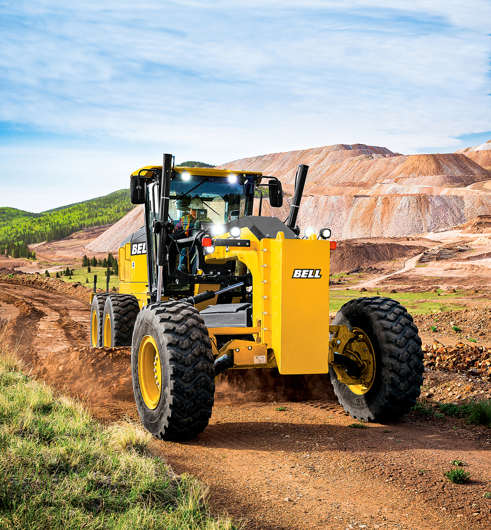 Bell motor graders have a blade float function that allows the operator to position the blade to just grade the surface.