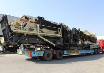 One of two Metso Outotec-donated Lokotrack ST4.8 mobile screens leaving the factory for Beirut in October 2020