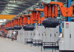 Tyres in production at BKT's Bhuj plant