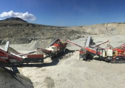 The Sandvik crushing and screening train in action at Pony's Pass, East Falkland