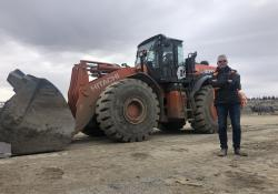 Tore Wethal, owner of the Herstua Grus quarry, with its Hitachi ZW370-6 wheeled loader