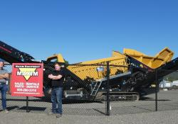 Joe Jensen, Sales Manager, Maxim Equipment (L) and Greg Evans, General Manager, Maxim Equipment (R) are pictured in front of an IROCK Mobile Scalping Screen at their new location in Spokane, Washington (Source: Maxim Equipment)