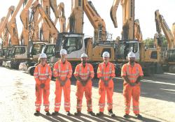 Liebherr's 2020 apprentices, from left to right: Sam Kingsbury – harbour mobile crane engineer apprentice, Max Evans-Lockett – earthmoving machine engineer apprentice; Kyle Harrison – paint shop operative apprentice; Ed Totman – mobile crane engineer apprentice; Joe Ryan - earthmoving machine engineer apprentice