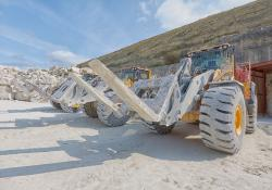 Albion Stone uses three Volvo L150H loading shovels for the extraction and rehandling of Portland Stone