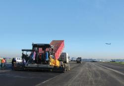Volvo Asphalt paver in action at Warsaw's Chopin Airport
