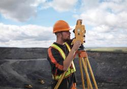 Worker using a modern surveying/visualisation tool