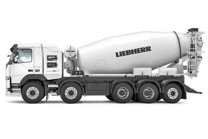 Liebherr's new fully electric ETM 1205 truck mixer