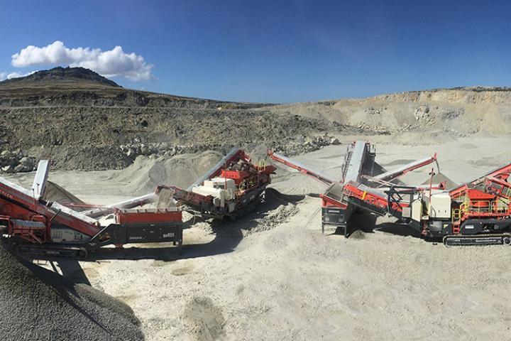 The new crushing and screening train in action at Pony's Pass, East Falkland