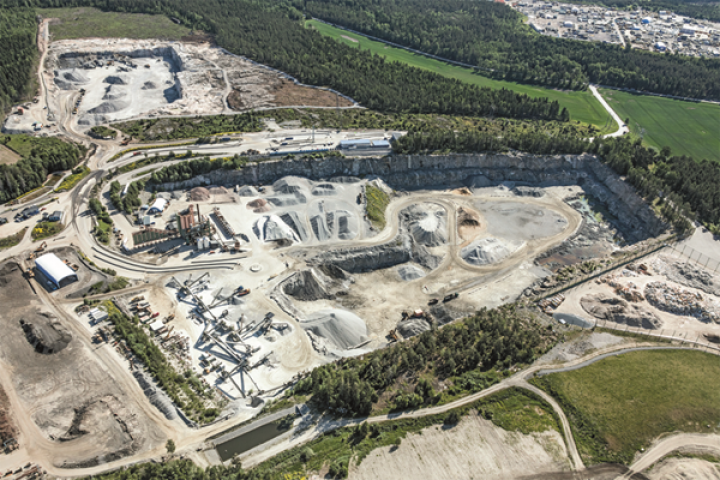 The huge Vällsta quarry, north of Stockholm, is operated by Skanska